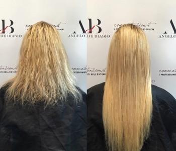Extension cheratina su capelli corti